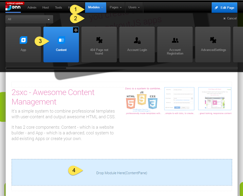 Quick-Edit to add Content and App Modules in 1-2nd (one second)