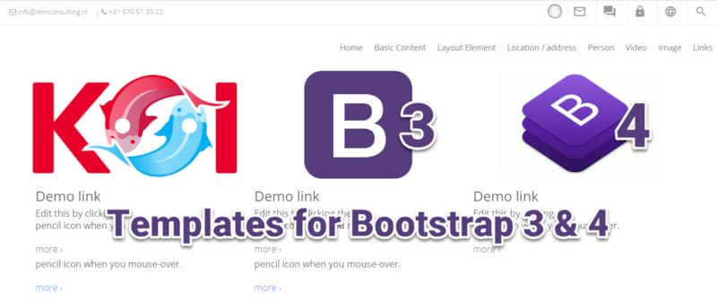 New Content-Templates for Bootstrap 3, 4 and others - using Connect.Koi