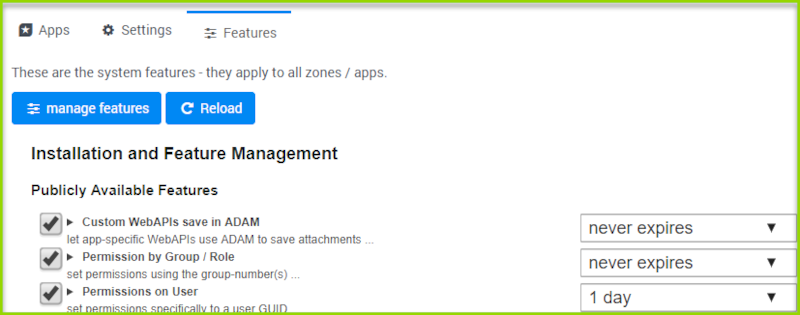 New: Features Management in 2sxc 9.30