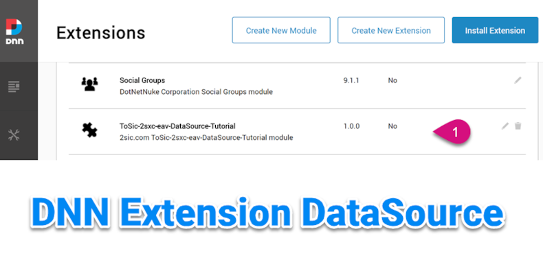 Custom DataSource - Creating a DNN Extension