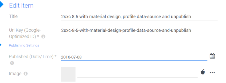 2sxc 8.5 with material design, profile data-source and unpublish