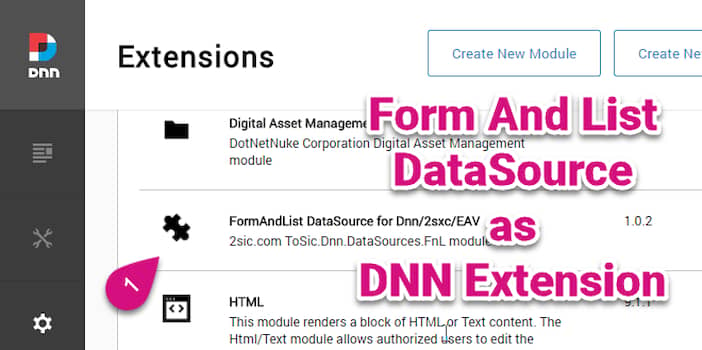 FormAndList DataSource as Standalone DNN Extension